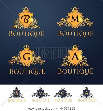 Elegant Luxury Monogram Logo or Badge template with Royal Crown - Perfect for luxurious branding projects