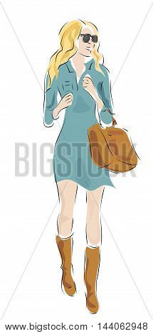 Beautiful Blond Woman with Fashion Clothes and Bag
