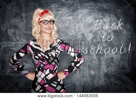 Retro Teacher In Glasses Smiling