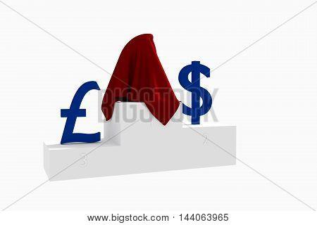 Hidden currency winner blue Dollar and Yen under red cloth 3D rendered illustration