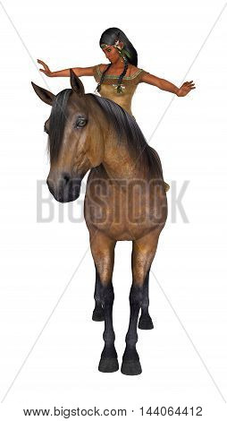 3D Rendering Native American Woman And Horse