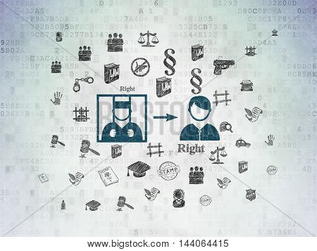 Law concept: Painted blue Criminal Freed icon on Digital Data Paper background with  Hand Drawn Law Icons