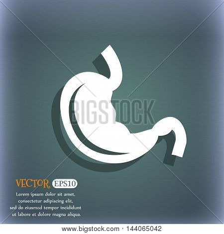 Stomach Icon. On The Blue-green Abstract Background With Shadow And Space For Your Text. Vector