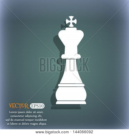 Chess King Icon. On The Blue-green Abstract Background With Shadow And Space For Your Text. Vector