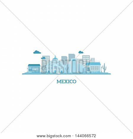 Mexico cityscape silhouette in blue colors. Vector illustration