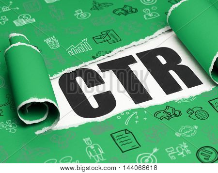 Finance concept: black text CTR under the curled piece of Green torn paper with  Hand Drawn Business Icons, 3D rendering