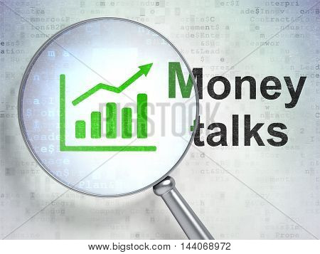 Business concept: magnifying optical glass with Growth Graph icon and Money Talks word on digital background, 3D rendering
