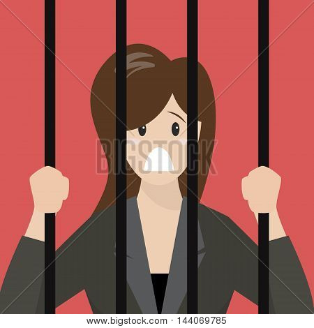 Business woman in prison. Business concept vector illustration