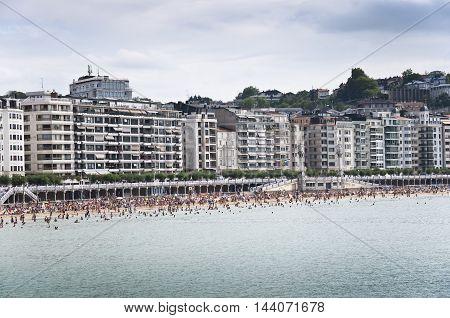General view of La Concha Beach, San Sebastian, Spain
