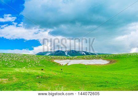 The dusty snowfield on the green meadow in highlands of Gegharkunik Province Armenia.