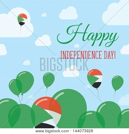 Sudan Independence Day Flat Patriotic Design. Sudanese Flag Balloons. Happy National Day Vector Card