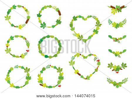 Vector set of round and heart shape wreaths, compositions of different, colorful tree leaves, Rowan berry bunches, acorns, chestnuts and pine cones, isolated on white background. Frames for design.