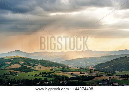 Evening sunset landscape in Umbria countryside Italy