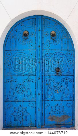 Blue Traditional Door With Arch From Sidi Bou Said