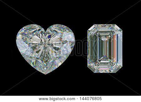 Emerald Cut Diamond And Heart Shape Gemstone Isolated