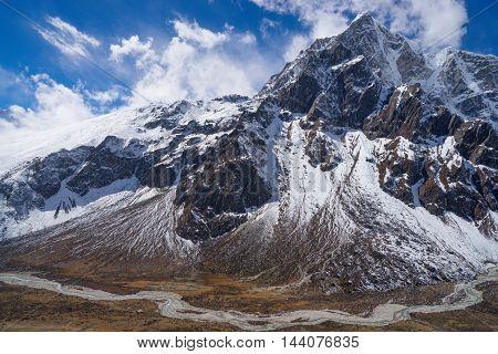 Himakaya Mountains Pheriche Valley And Taboche Peak