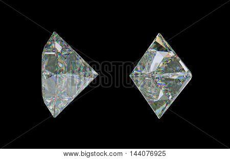 Sde Views Of Princess Cut Diamond Or Gemstone On Black