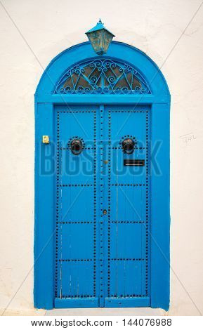 Traditional Blue Door With Lantern From Sidi Bou Said