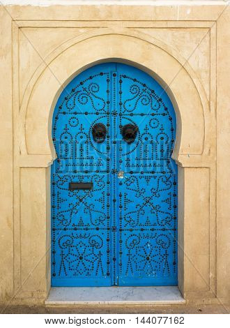 Blue Aged Door With Ornament From Sidi Bou Said