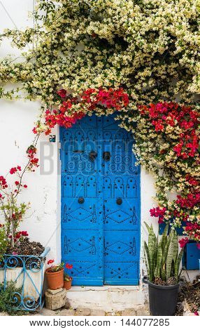 Blue Door With Traditional Ornament As Symbol Of Sidi Bou Said