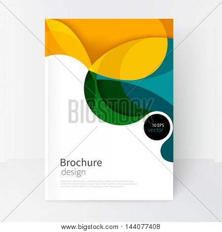 vector white business brochure cover template.modern abstract background green, yellow and blue waves .EPS 10
