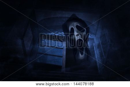 Abstract texture blend with ghost scream over old ancient window castle Spooky background Halloween concept