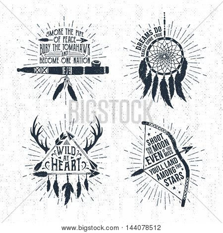 Hand drawn tribal labels set with flute dream catcher arrows and bow vector illustrations and inspirational lettering.