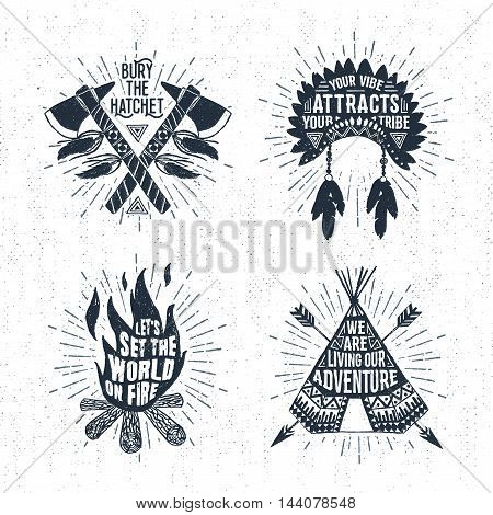 Hand drawn tribal labels set with tomahawks headdress bonfire and teepee vector illustrations and inspirational lettering.