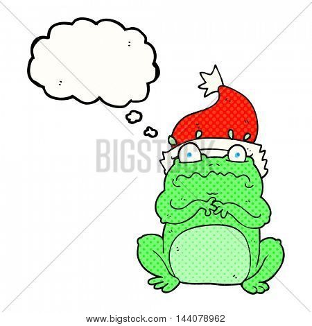 freehand drawn thought bubble cartoon frog in christmas hat