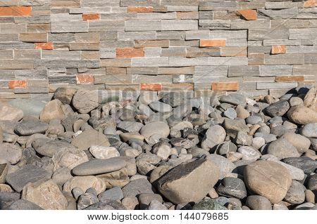 closeup of rocks with stone veneer wall