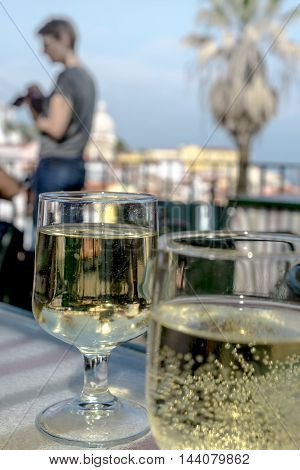 Green Wine in Lisbon in Alfama district Portugal