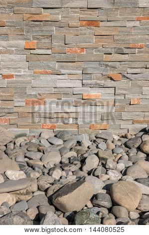 closeup of stone wall background with rocks