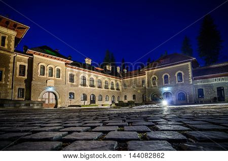 Busteni Romania - June 10: The Cantacuzino Palace June 10 2016 in Busteni Romania. Exterior view of the Cantacuzino Palace that was build by Gheorghe Grigore Cantacuzino alias