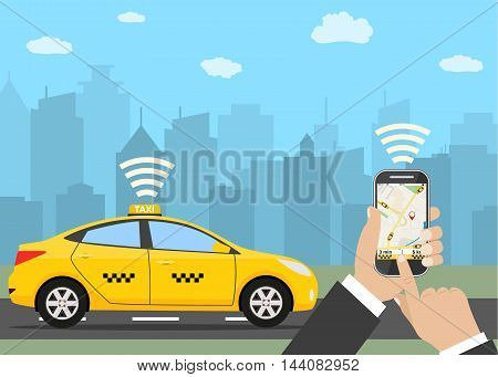 Taxi service. Yellow taxi cab. Hands with smartphone and taxi application, city silhouette with skyscrapers and tower, sky with clouds. Vector illustration in flat style
