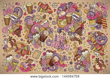 Colorful vector hand drawn doodle cartoon set of ice-cream objects and symbols designs