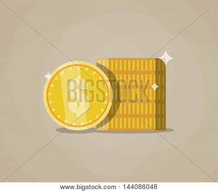 Stack of gold coins. The concept of profit. vector illustration in flat design on brown background