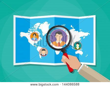 Human resources management concept, searching professional staff, work, hq, world map with candidates, hand with magnifying glass. vector illustration in flat design on green background