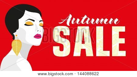 Autumn sale. Banner. Fashion girl. Bold, minimal style. Pop Art. OpArt, positive negative space and colour. Trendy strips. Vector illustration - stock vector