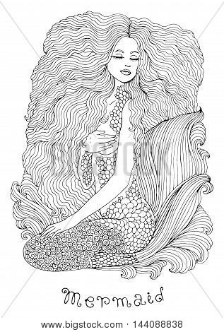 Vector sea mermaid with long curly hair and a beautiful patterned scaly tail with wavy fins. Decorated graphic illustration of a mermaid tattoo. Mermaid sea nymph. Pattern for coloring book A4 size.