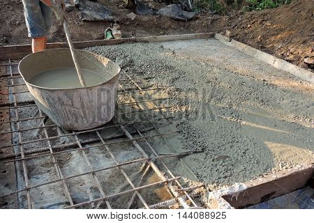 Batch Of Concrete On Masonry