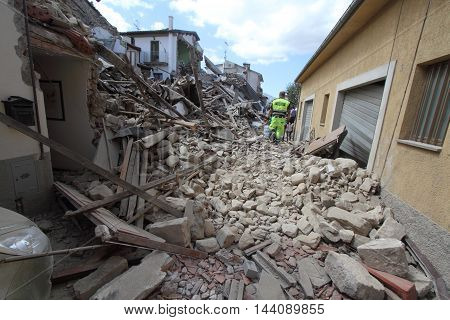 24/8/2016 - Amatrice - Rieti - Italy - Aftermath of the earthquake that destroyed the historic city of Amatrice