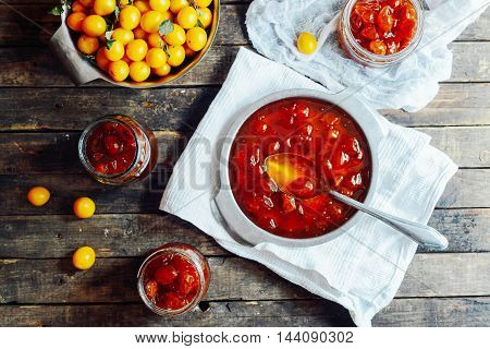 Plums Jam In A Small Cup. Homemade Spicy Mirabelle, Greengage Pl
