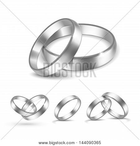 Vector Set of Silver Wedding Rings Isolated on White Background