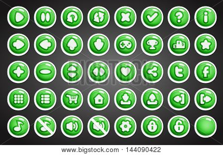 Game buttons in cartoon style. 2d game assets