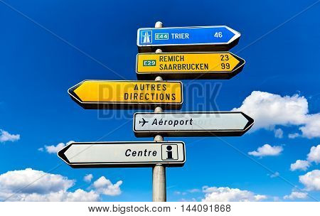 Luxembourg- April 10, 2016: Roadsign showing directions to the different cities and places near the Luxembourg city. Western Europe