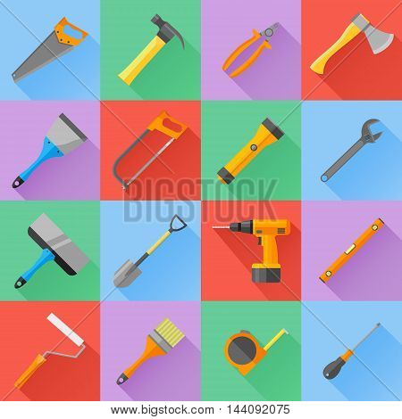 Set of construction tools flat icons. Spanner, pliers, hammer, screwdriver, brush, roller, axe, shovel, saw, drill, spatula, flashlight, level and tape measure. Vector illustration.