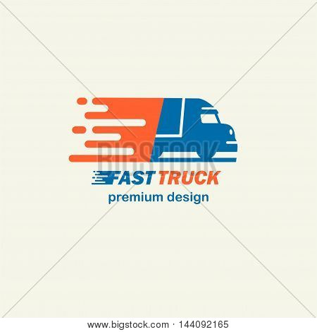 Fast Truck. The template for logos, icons of modern lorry. Editable EPS format design element, arts and crafts concept.