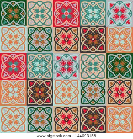 Gorgeous seamless mix pattern from colorful floral Moroccan, Portuguese tiles, Azulejo, ornaments. Can be used for wallpaper, pattern fills, web page background, surface textures.