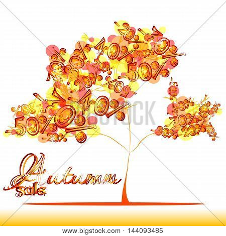 Abstract autumn sale tree with foliage from falling percents of discounts in orange colors on white background. Vector illustration