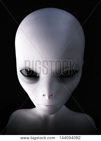 Portrait of an alien 3D rendering. Black background.